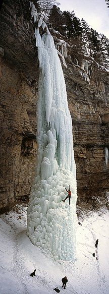 The Fang waterfall in Vail, Colorado, ice climbing