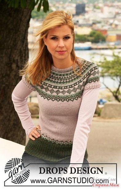 Жаккардовый пуловер из DROPS.(короткий рукав) - Жаккард - Страна Мам