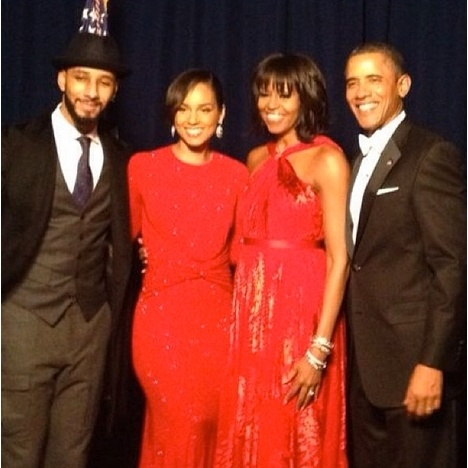 President and First Lady with Alicia Keys & Swizz Beatz :) <3 Black love is beautiful.