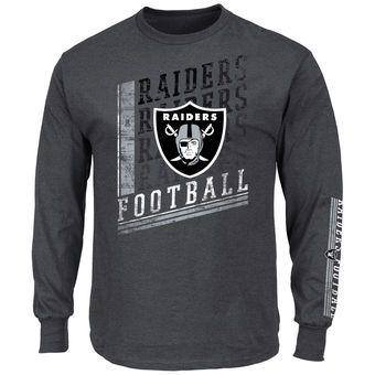 Men's Oakland Raiders Majestic Charcoal Big & Tall Dual Threat Long Sleeve T-Shirt