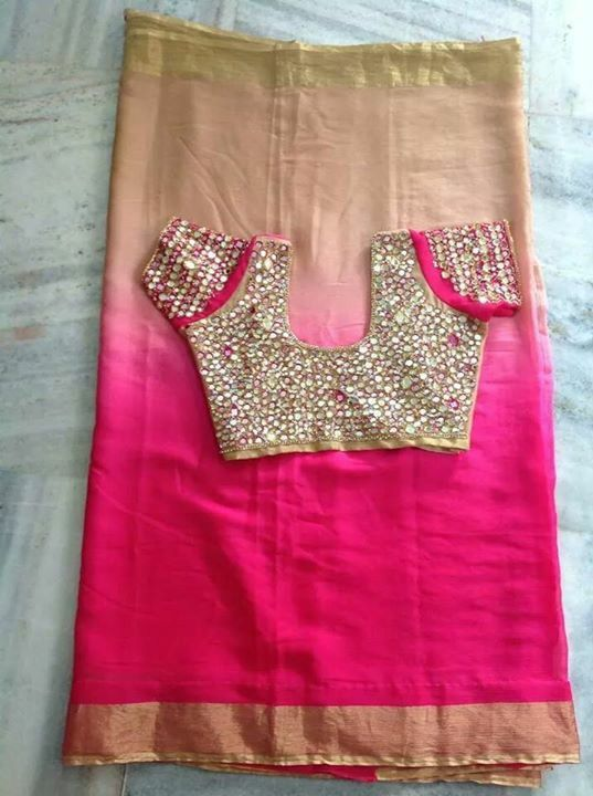 Pink and beige shaded saree with pink mirror work blouse