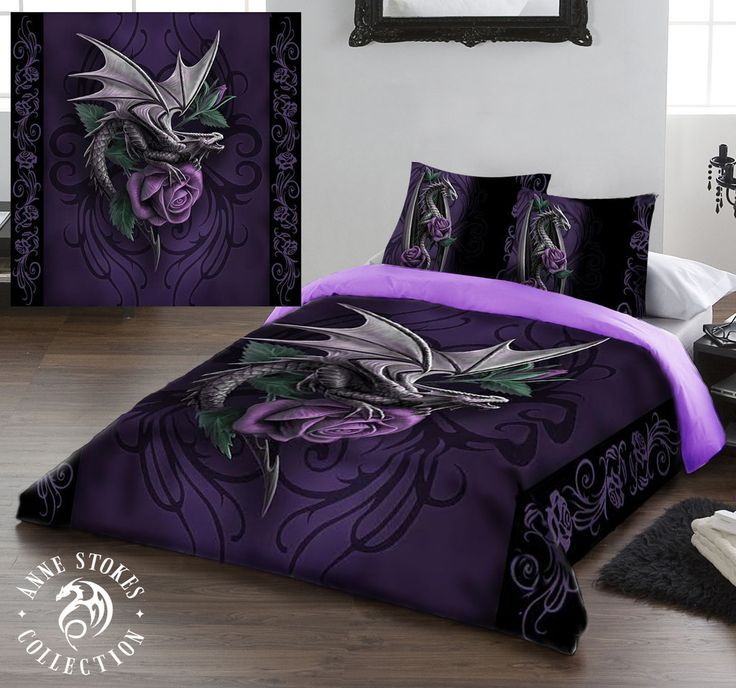 Wild Star Hearts - DRAGON BEAUTY- DUVET & PILLOW COVERS CASE SET DOUBLE / US FULL TWIN Art by Anne Stokes