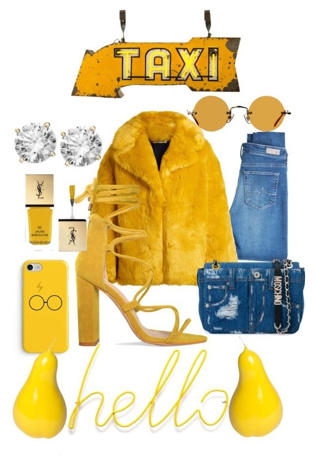 """Yellow fever"" by allthings-fashionista on Polyvore featuring AG Adriano Goldschmied, Diane Von Furstenberg, Moschino, Hakusan, Yves Saint Laurent, TAXI and Bitossi"