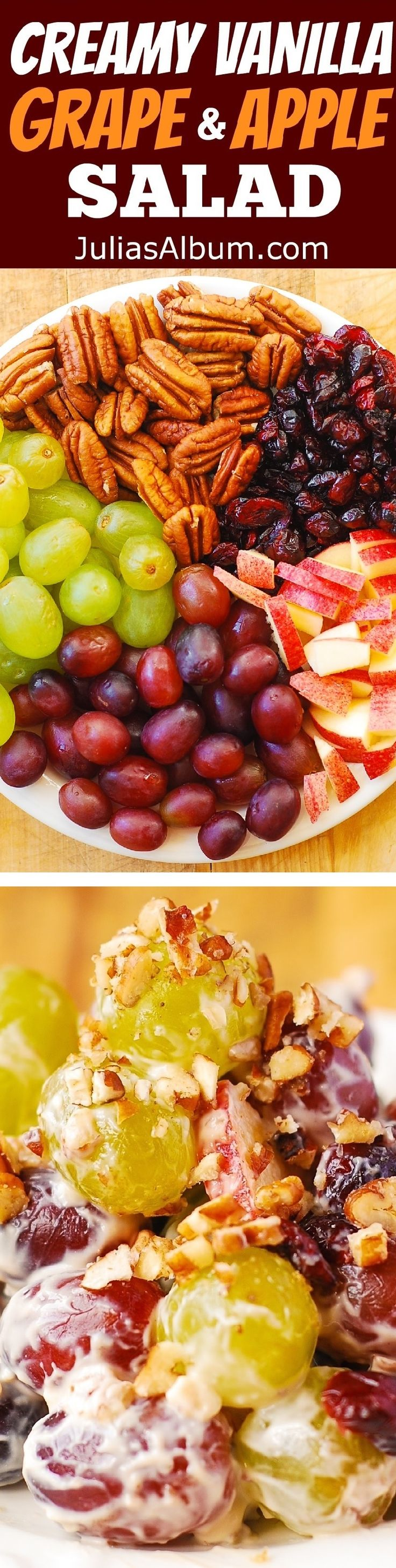 Creamy Vanilla Grape & Apple Salad with Cranberries and Pecans