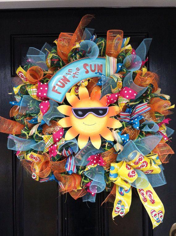 Large Whimsical Mesh Wreath Yellow Sun Flip Flop Fun Beach Pool Lake House Spring Summer Easter Mothers Day Polka Dot Ribbon