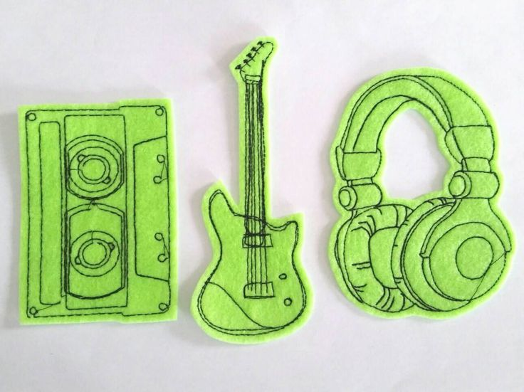 Iron On Patches Set of Cassette, Headphones and Guitar Appliques in neon green - Custom Patches - band patch - stocking stuffer by dahliasoleil on Etsy https://www.etsy.com/listing/127224232/iron-on-patches-set-of-cassette