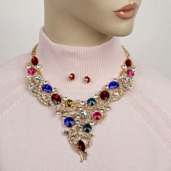 Rhinestone necklace statementcrystal statement