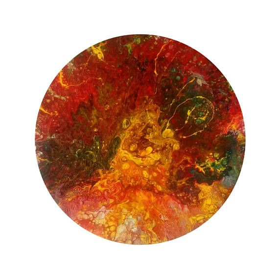 New abstract warm colors original circular painting. Very impressive on a low cost