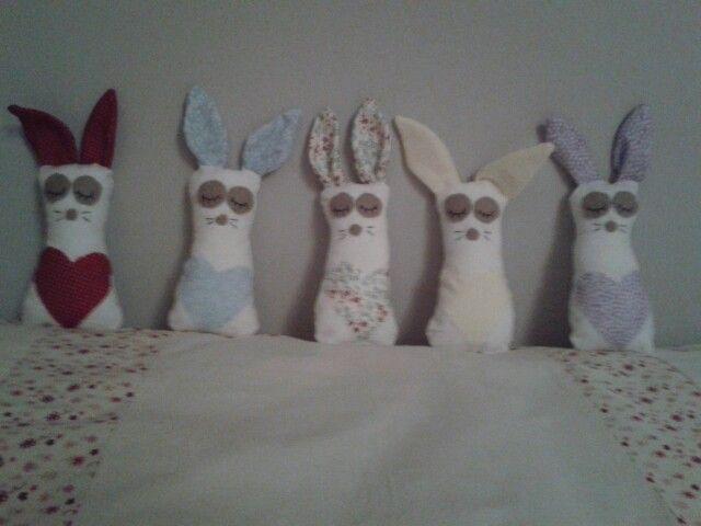 Hand made bunny family
