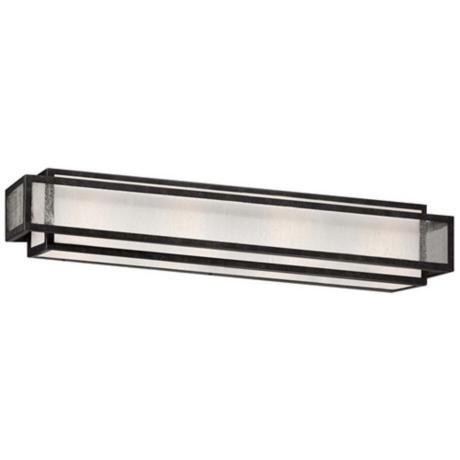 "L.P.  Minka Camden Square 30"" Wide Charcoal Bath Light  Nice Zen look.  4 100W bulbs.  Also available in a 3 bulb 24 inch wide."
