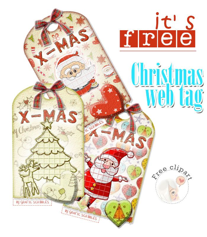 Free Christmas Web Tag http://graficscribbles.blogspot.it/2014/12/free-christmas-web-tag-decorazioni-immagini-Natale.html #tag #Natale #Christmas #Renna #alberodiNatale #BabboNatale #abete