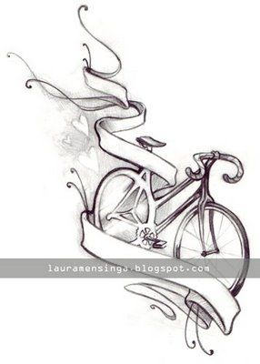 Banner And Bike Tattoo Design