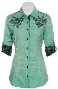 Roar Ladies Patron Sait Distressed Mint w/ Black Lace 3/4 Sleeve Western Shirt