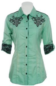 Roar Ladies Patron Sait Distressed Mint w/ Black Lace 3/4 Sleeve Western Shirt