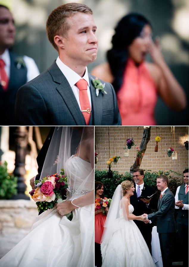 Petal Pushers :: Mansion at Judges Hill :: Wedding :: Austin, TX :: Coral Bridesmaids dress :: First Look :: Boutonniere :: Bright wedding flowers :: garden rose :: Ranuncula :: Dahlias