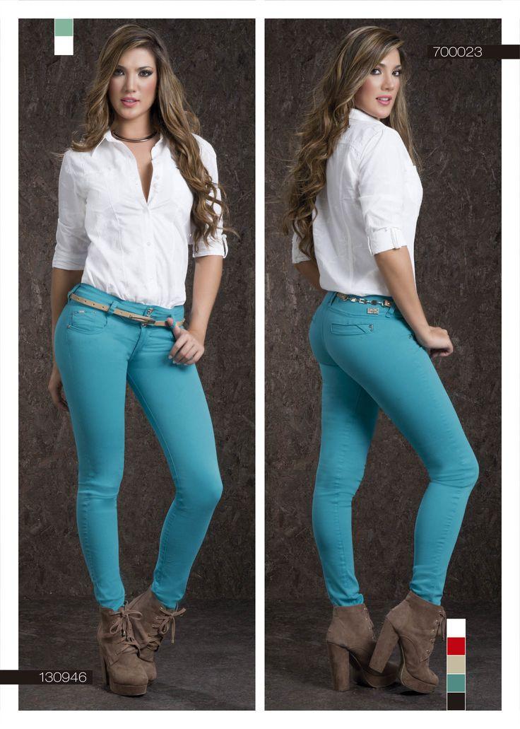 Pantalón Para Dama Color Aguamarina Bota Tubo Blusa Para Dama Color Blacno Blue Pants For Women White Blouse Fashi Women White Blouse Fashion Pants For Women