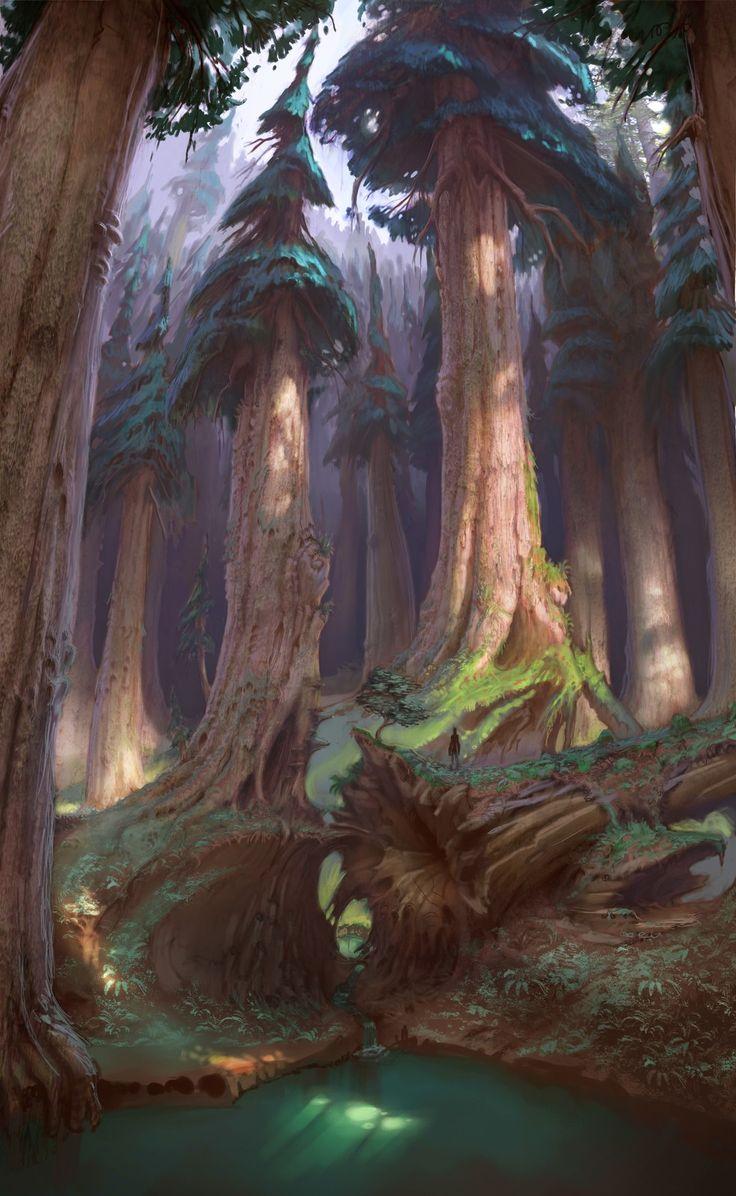 Highlands forest, Sam Nielson on ArtStation at https://www.artstation.com/artwork/rBwWG