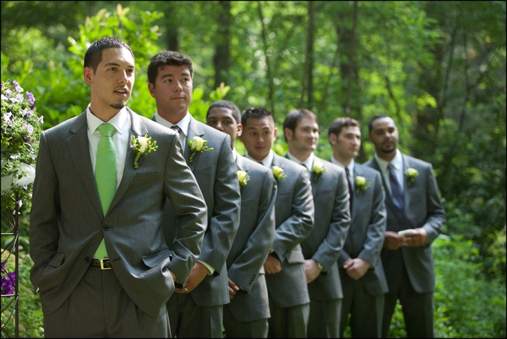 What Colours Not To Wear To A Wedding: Green Tie Wedding Similar To This But Plain Dark Gray Suit