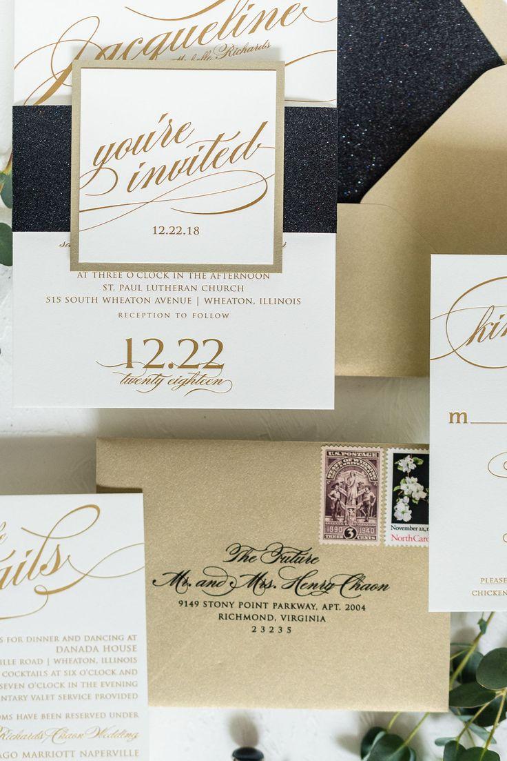 Custom wedding invitations, Black and Gold, Glitter