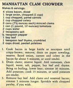 Manhattan Clam Chowder - Antique Recipes: