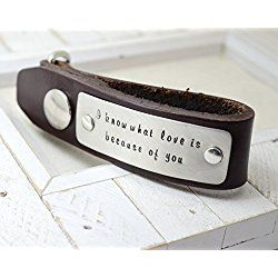 Personalized Leather Key Chain - Custom Message Keychains for Him - Dad Daddy Father's Day Gift - Valentines Day Anniversary Gift
