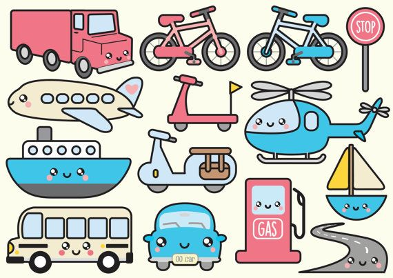 Clipart de haute qualité de vecteur. Transport mignon clip image vectorielle. Ensemble de clipart kawaii transport. Clipart kawaii ! Cet