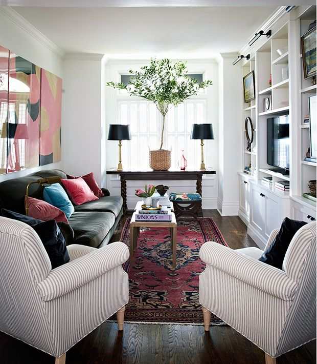 6 Ways To Make Your Small Living Room Feel Bigger The Everygirl In 2021 Narrow Living Room Narrow Living Room Design Long Narrow Living Room
