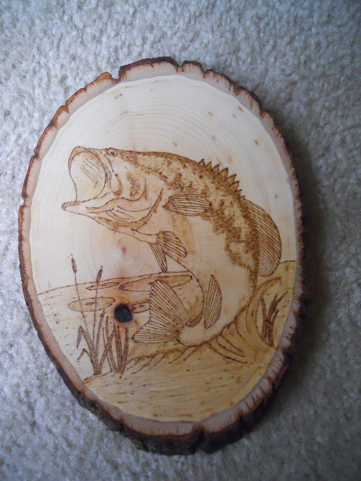 Largemouth Bass Nature Inspired Pyrography Fish Wood