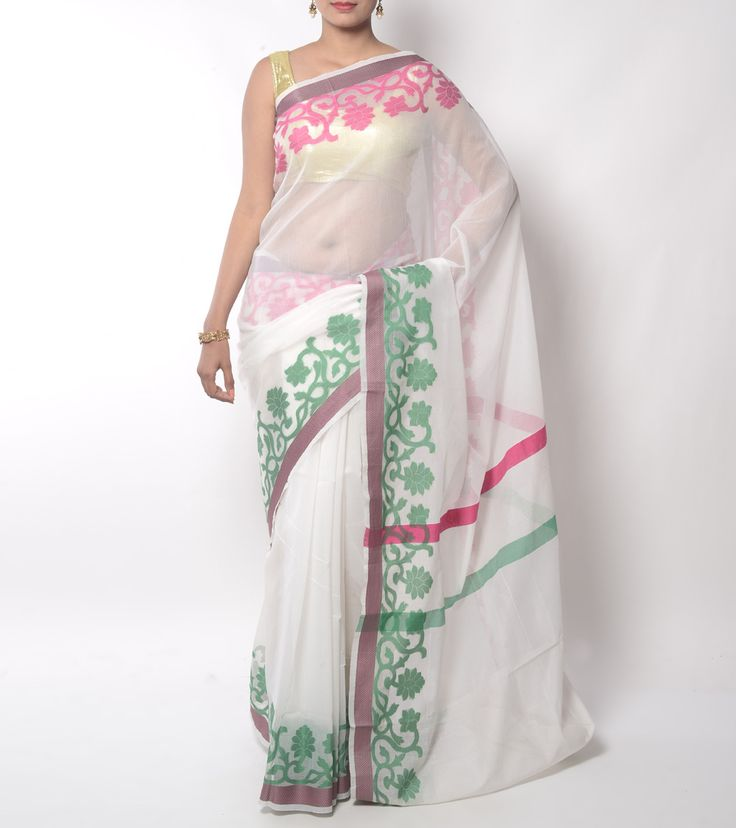 White Cotton Silk Banarasi Saree