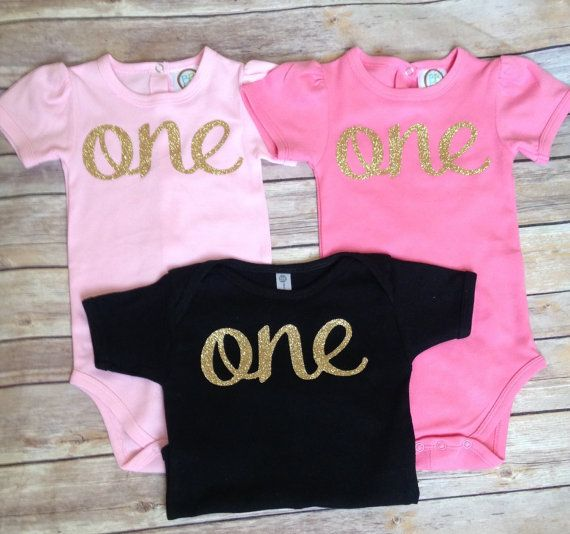 Gold One Bodysuit/ First birthday shirt/pink and by BespokedCo