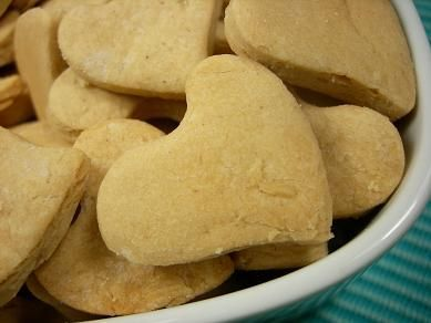 Peanut Butter Honey Hearts: Gluten free, Lactose free and Vegetarian Dog Treat/Biscuit Recipe :: Doggy Dessert Chef