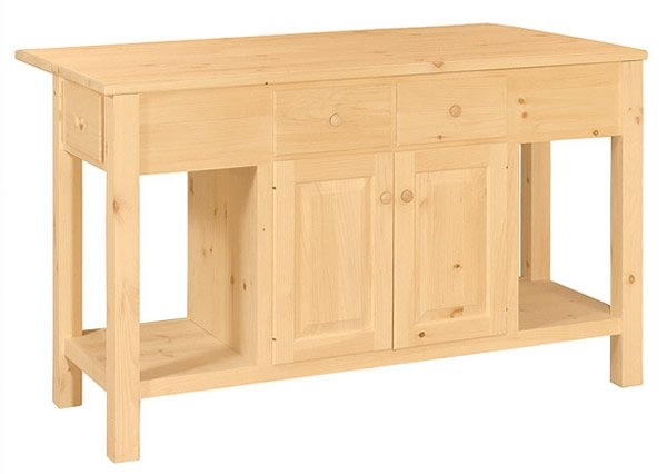 Kitchen Island, Unfinished Available In Pine, Maple, Oak