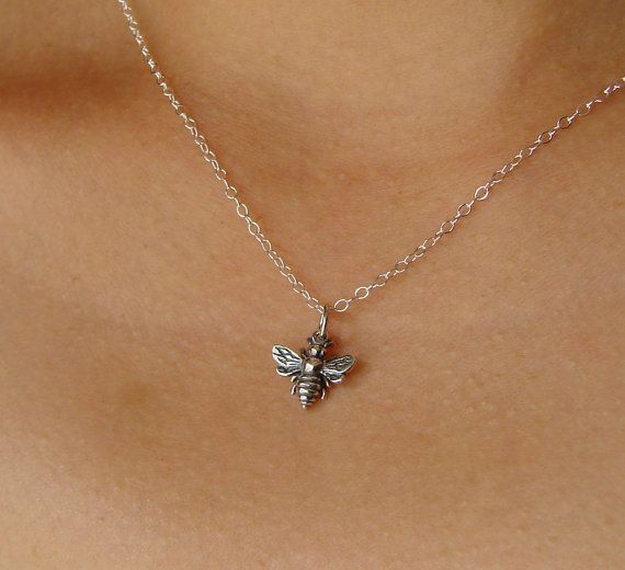 Honeybee Necklace in Sterling Silver, bee charm, pendant necklace, silver bee necklace on Etsy, $28.00