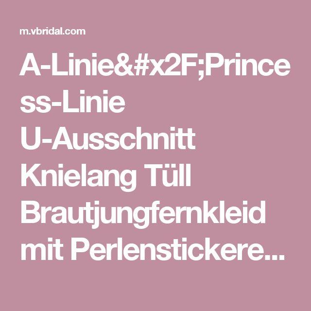 A-Linie/Princess-Linie U-Ausschnitt Knielang Tüll Brautjungfernkleid mit Perlenstickerei Pailletten (0075097724) - mvbridal