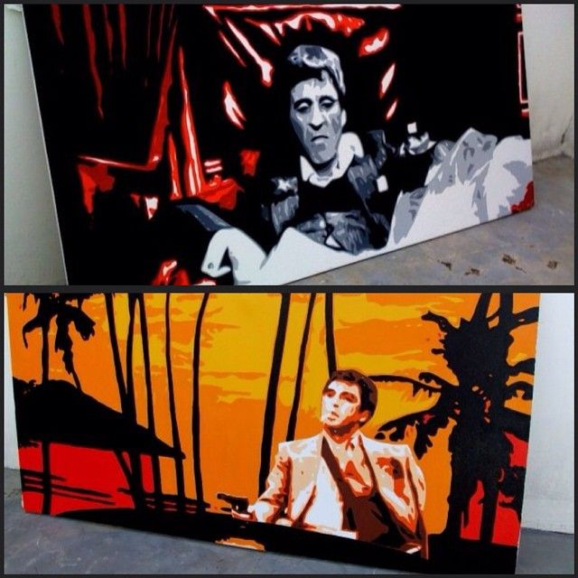 Scarface film in oil painting on canvas from our Pop Art Collection.. #scarface #1980s  #alpacino #money #power #art #painting #housedecor #popart #tonymontana #bluesurfart #canvasart #film #miami #movies #housedecor ↪️ Various size available at www.bluesurfart.com  info@bluesurfart.com ✈️Free shipping Worldwide