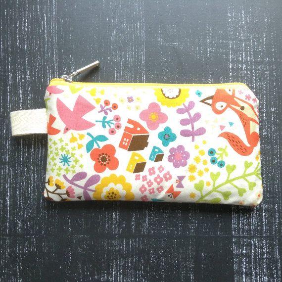 fox pencil case cosmetic pouch gadget case make by KatunKatunBags