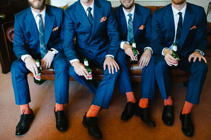 Navy on the groomsmen | Contrast with burnt orange accent socks | Talk to us about making a wedding film just for you www.whitedressproductions.com.au