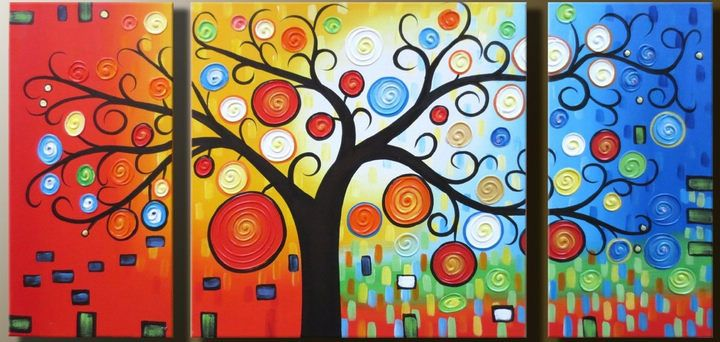 Blossom Tree of Life - Hand Painted Oil Painting on Canvas - Set of 3 Pieces - Free Shipping #01344 - $99.90 - Rock Wall Art - Buy Popular Hand Painted Oil Painting Artworks from Place of Origin , Save More