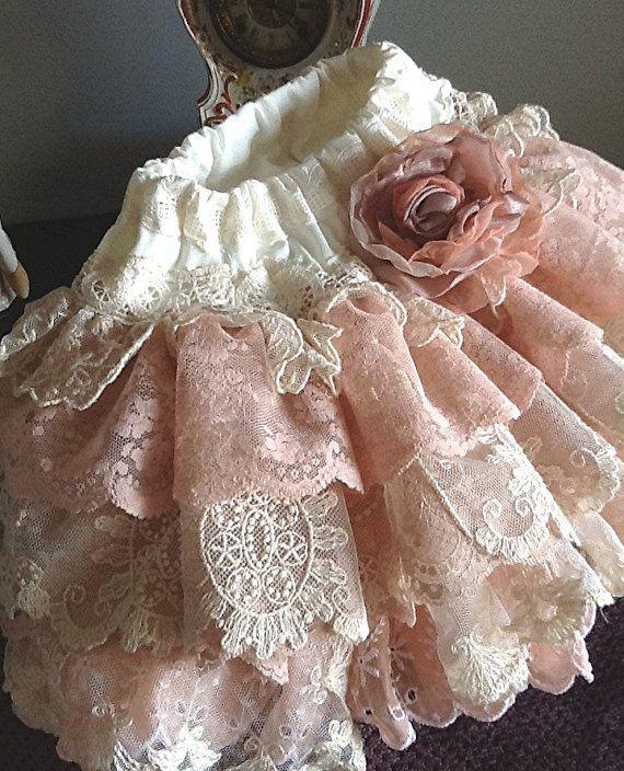La muchacha de flor encaje vintage skrt faldas con volantes