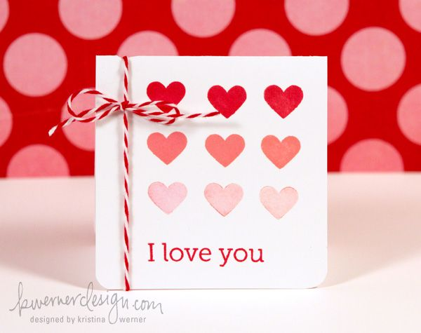 Ombre Heart Valentine's Day Card by Kristina Werner, http://www.kwernerdesign.com