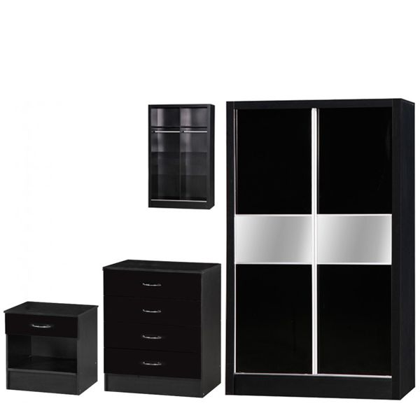 MARLA HIGH GLOSS BLACK SLIDER BEDROOM SET  MARLA HIGH GLOSS BLACK OAK SLIDER BEDROOM SET Bedroom Furniture Set-Oak, White, Black, Red, Blue, Mirrored bedroom furniture set available at MFD www.modernfurnituredeals.co.uk