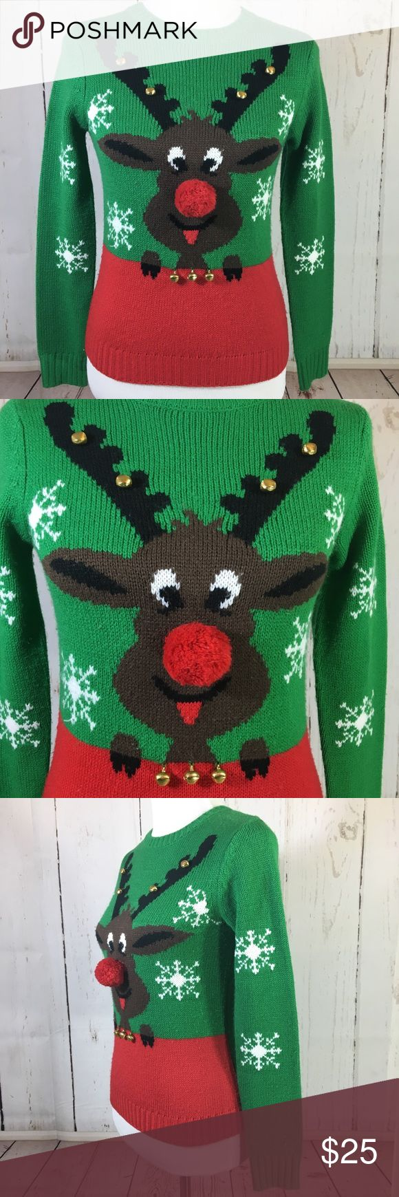 """Ugly Christmas Sweater Rudolph Red Nose Bells Ugly Christmas Sweater Rudolph Reindeer Pom Pom Red Nose Jingle Bells Small Shown on a medium size mannequin  Approximate measurements:  Chest 16"""" Shoulders 14"""" Waist 15"""" Length 22"""" Arm length 23"""" Forever 21 Sweaters Crew & Scoop Necks"""