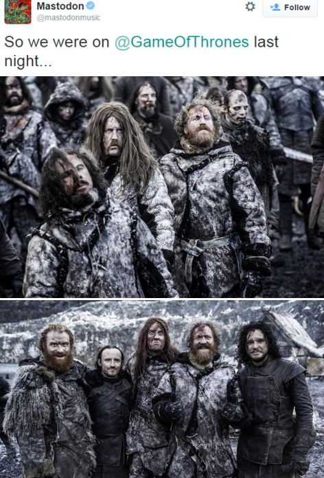 Mastodon on Game of Thrones as wildling extras: Brann Dailor, Bill Kelliher and Brent Hinds with Ben Crompton and Kit Harington (season 5, episode 8)