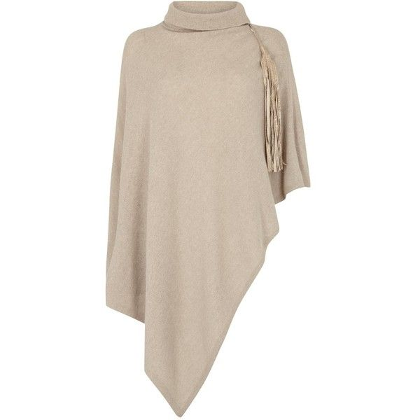 Womens Poncho Armani Collezioni Taupe Funnel-neck Wool Blend Poncho ($415) ❤ liked on Polyvore featuring outerwear, armani collezioni and pink poncho