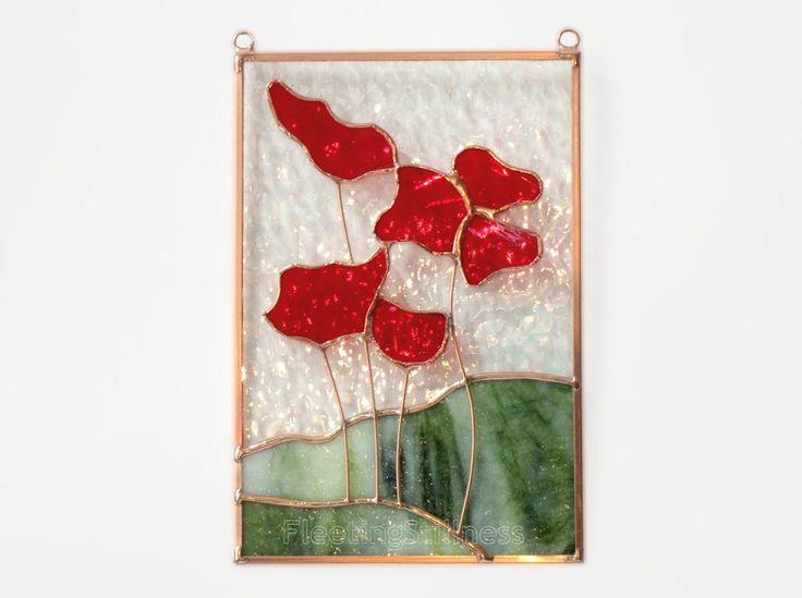 Amapolas mancharon vidrio Sol Catcher Panel vidrio rojo