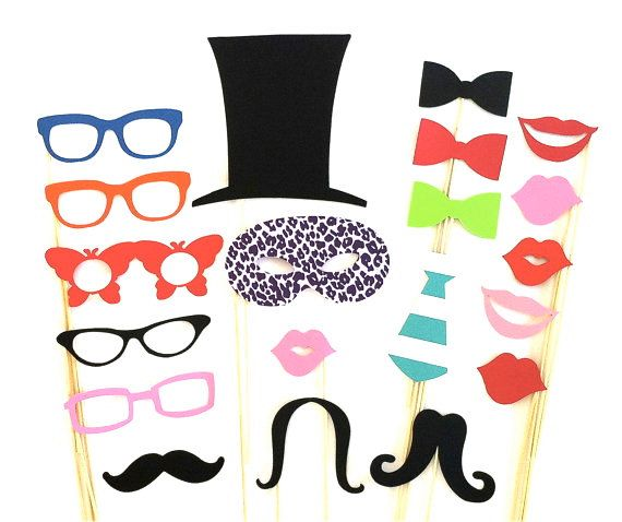 Photo Booth Props Party Pack Set of 20 di CreativeButterflyXOX, $24.95