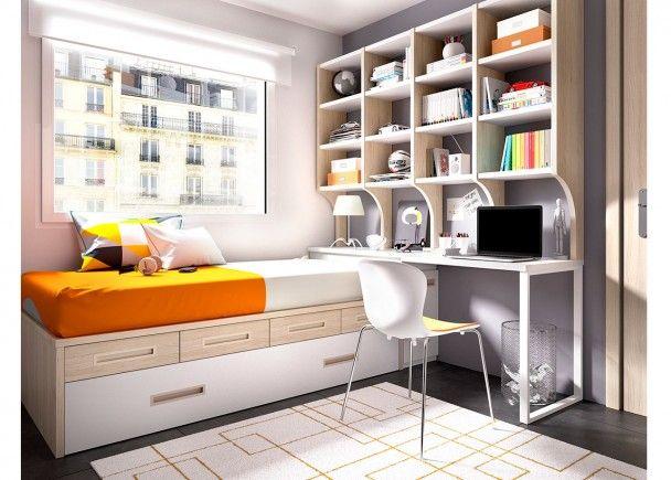 Dormitorio con cama nido  cajones modulares