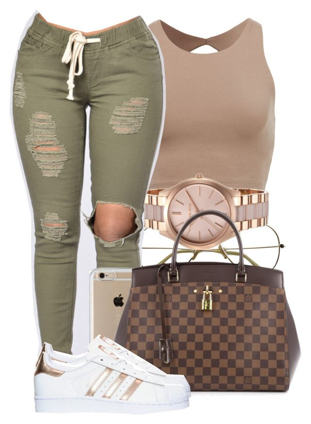 """ Baby when I clock up I can't wait, promise this time won't go to waste "" by mindlesspolyvore ❤ liked on Polyvore featuring Michael Kors, Speck, Louis Vuitton and adidas"