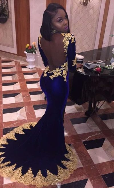 Royal Blue Mermaid Prom Dresses Gold Appliques Backless African Girl