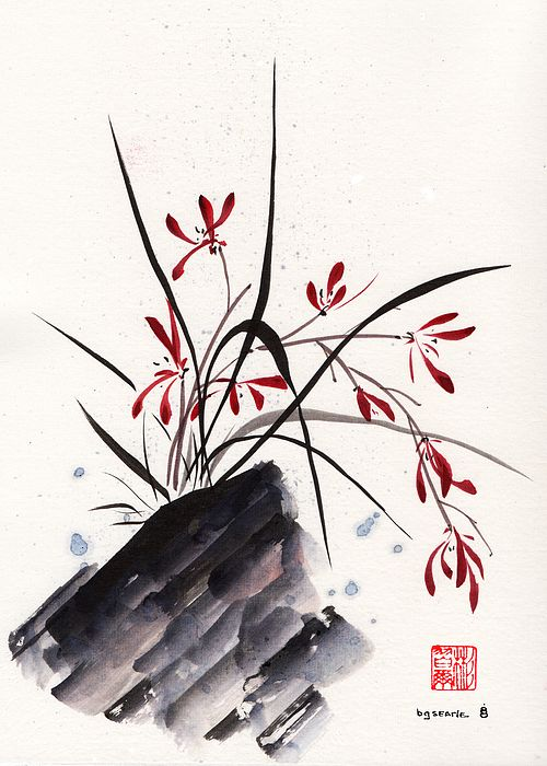 Wilds Orchid, spontaneous (xie yi) style chinese brush painting on rice paper by bgsearle.